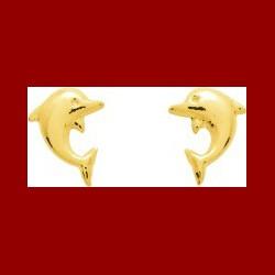 Boucles d'oreilles or jaune dauphin