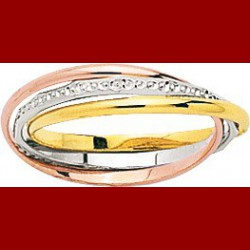Alliance 3 ors entrelacées diamantées 1.5mm