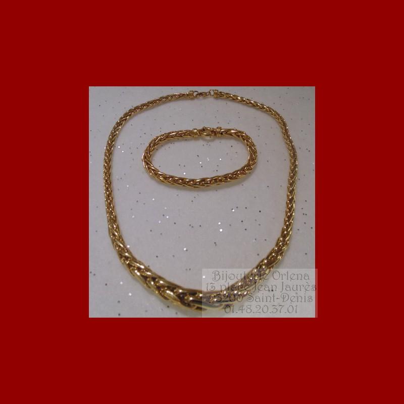 collier et bracelet palmier chute or 18 carat certifi. Black Bedroom Furniture Sets. Home Design Ideas