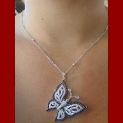Chaine papillon or blanc oxyde zirconium