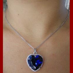 Chaine pendentif et boucles d'oreilles et sa bague Coeur de l'océan oxyde de zirconium bleu