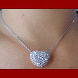 Chaine et son pendentif coeur pavage oxyde de zirconium