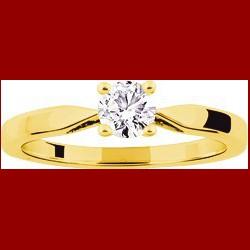 Solitaire diamant 0.40 carat Or 18 carats couleur gh pureté vs