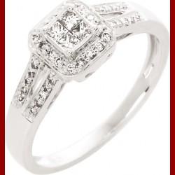 Solitaire princesse diamant or blanc