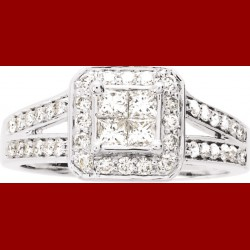 Solitaire princesse diamant or blanc 0.75CT