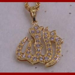 Pendentif Allah oxyde de zirconium or 18 carats