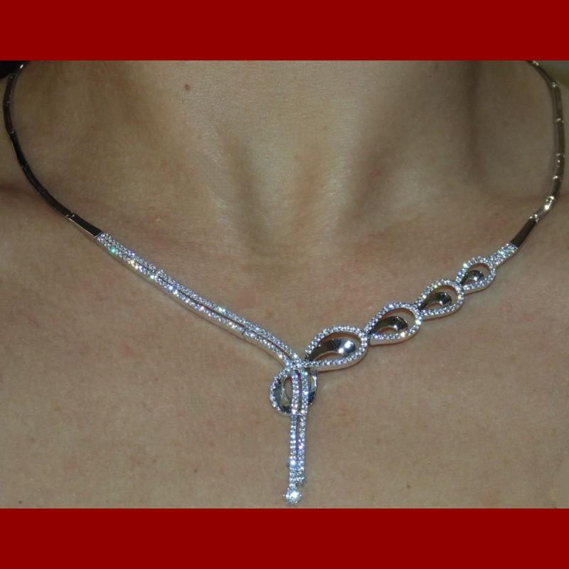 parure infinity pendante or blanc 18 carats bijouterie orlena. Black Bedroom Furniture Sets. Home Design Ideas