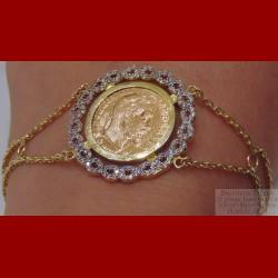 Bracelet Napoléon porte pièce 18 carats