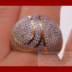 Bague boule pavage or 18 carats