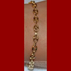Bracelet maille grain de café or 18 carats