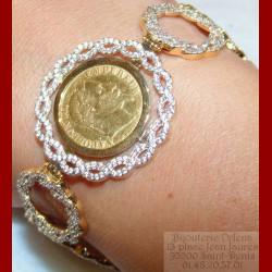 Bracelet pièce de 10 francs napoléon fleur