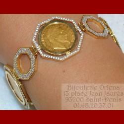 Bracelet pièce 10 francs napoléon octogone