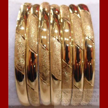 Bracelet à l'unité lisse sablée Or 18 carats