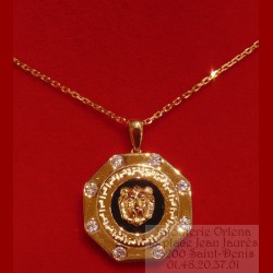 Pendentif Octogonal Onyx Lion Or 18 Carats