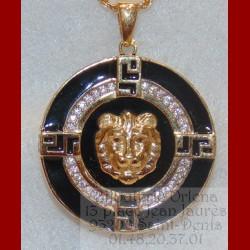 Pendentif Lion Email Noir Or 18 carats