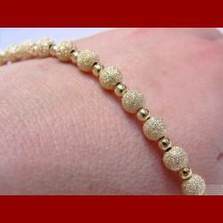 Bracelet Boule brillante et satinée Or 18 carats