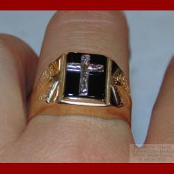 Chevalière Croix Onyx Or 18 Carats