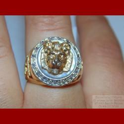 Chevalière Lion Oxydes de Zirconium Or 18 carats