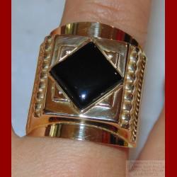 Chevalière Godronnée Onyx Or 18 carats