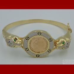 Bracelet Panthère Oxydes de Zirconium Or 18 Carats