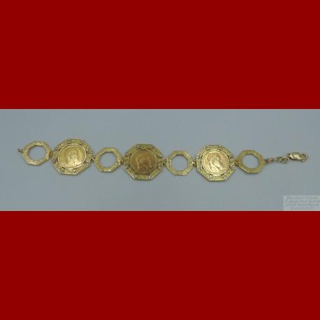 Bracelet Napoléon Motif Grec Pièces 10 Francs Or 18 Carats