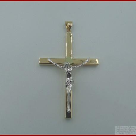 Pendentif Croix Or Jaune et Blanc 18 Carats