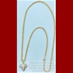 Chaîne corde et son pendentif diamant Or 18 Carats