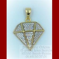 Pendentif Motif Diamant Or 18 Carats