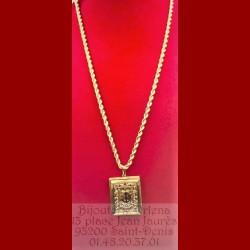 Chaîne corde et son pendentif Livre du Coran Or 18 Carats