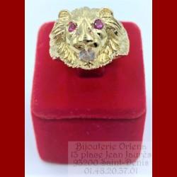 Bague lion Yeux Rouge Or 18 Carats