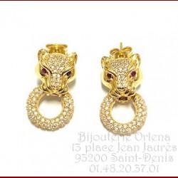 Boucles D'Oreilles Pendantes Panthère Or 18 carats