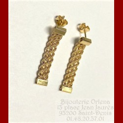 Boucles D'oreilles triple Corde Or 18 Carats