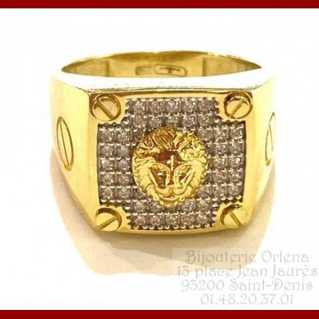 Chevalière Lion Vis Or 18 carats