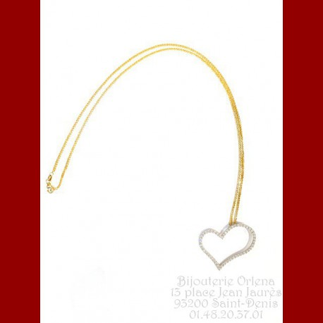 Pendentif cœur penché avec sa chaîne